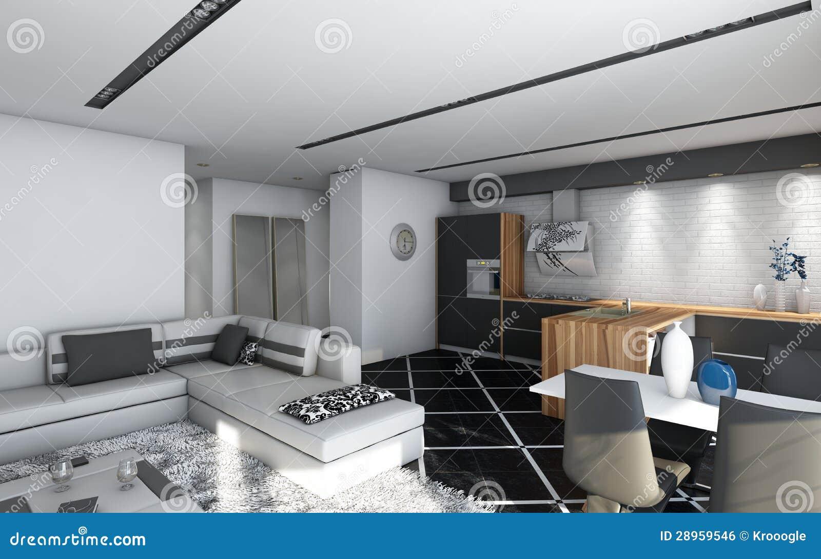 Zwarte Keuken Met Hout : Zwarte Keuken Royalty-vrije Stock Afbeelding – Afbeelding: 28959546