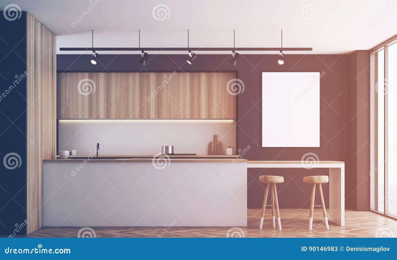 Keuken Bar Muur : Zwarte keuken met gestemde bar en affiche stock illustratie