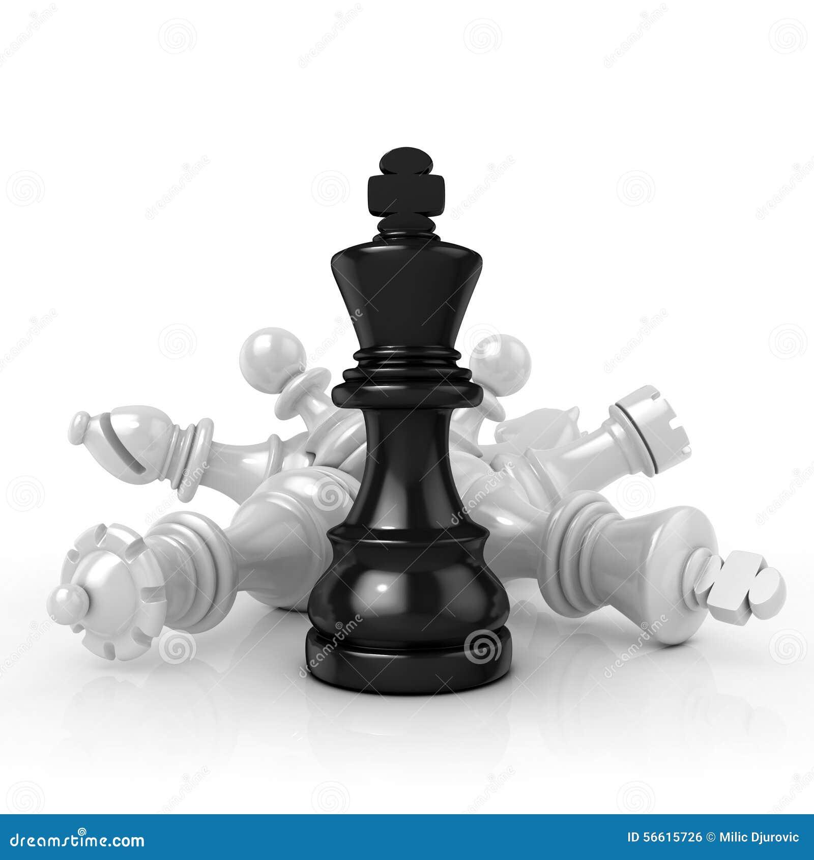 Zwarte koning die zich meer dan gevallen witte schaakstukken bevinden