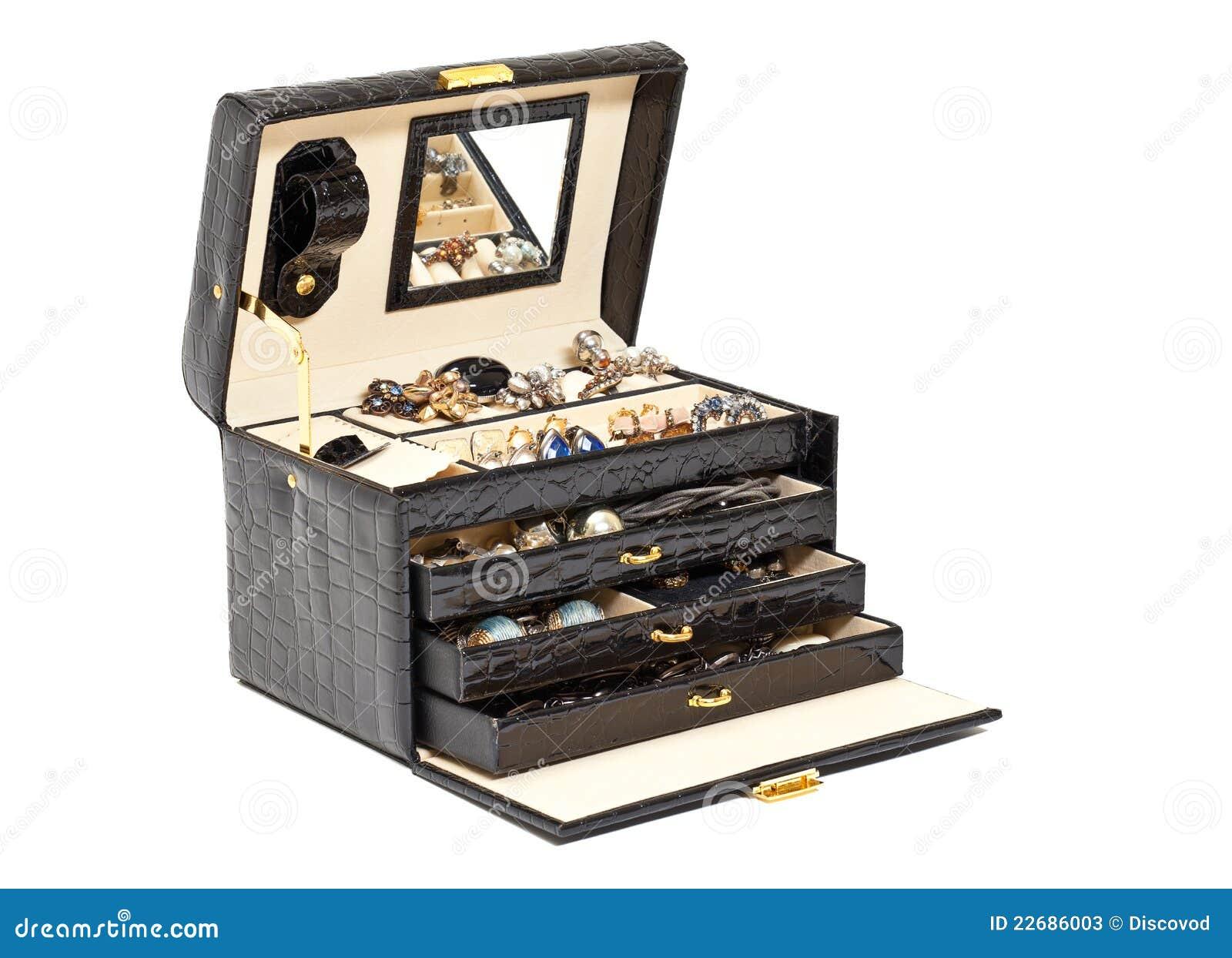 Zwarte leerdoos voor schoonheidsmiddel of jewelery