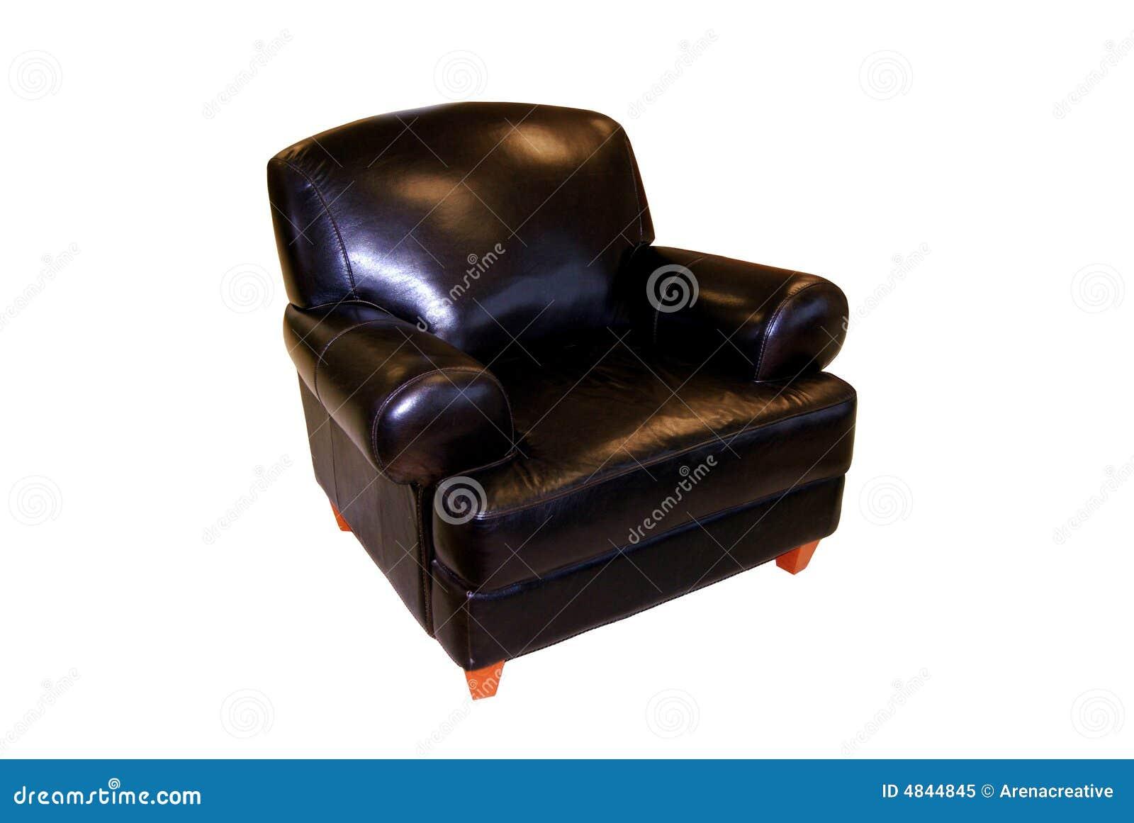 Zwarte leerstoel