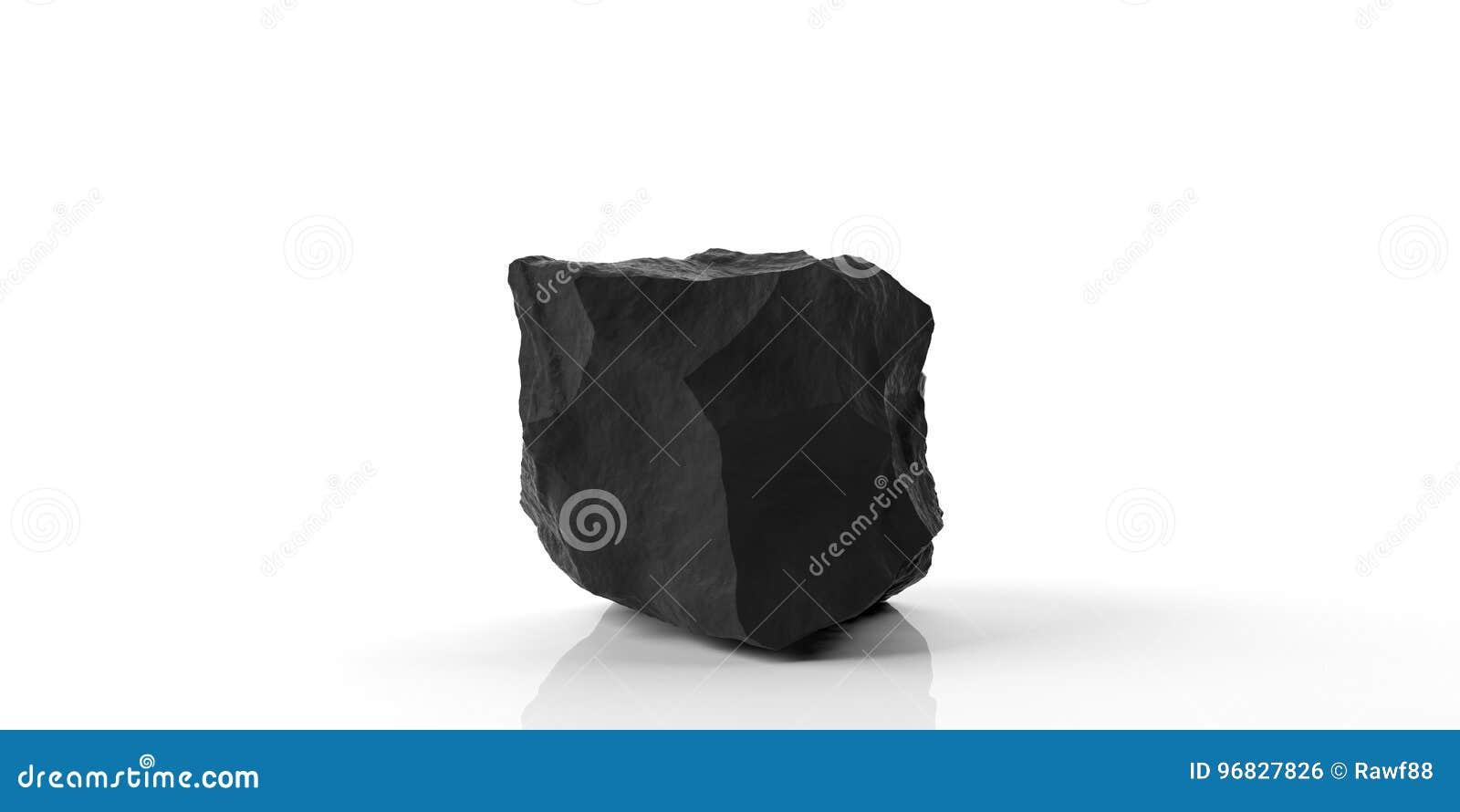 Zwarte marmeren rots op witte achtergrond 3D Illustratie