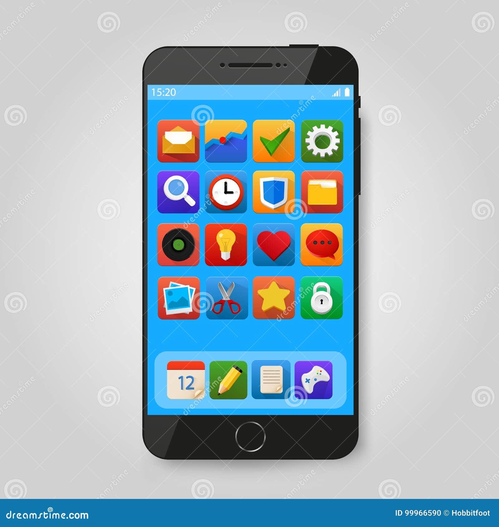 Zwarte mobiele slimme telefoon met app pictogram Mobiele de toepassingspresentatie van Smartphone