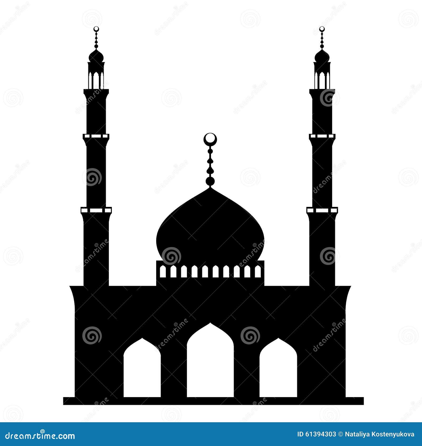 Zwarte moskee op wit