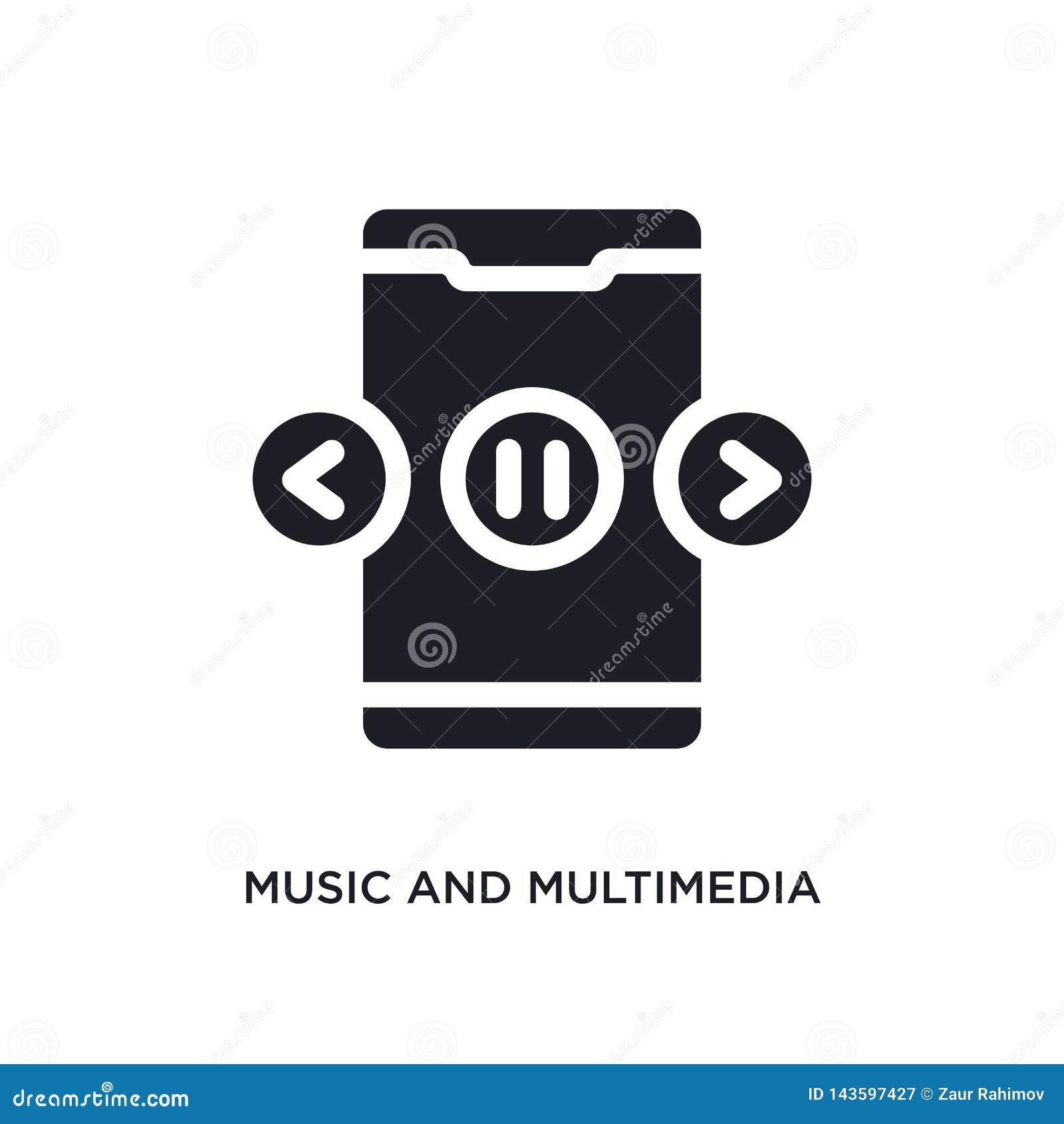 Zwarte muziek en multimedia geïsoleerd vectorpictogram eenvoudige elementenillustratie van de vectorpictogrammen van het mobiele