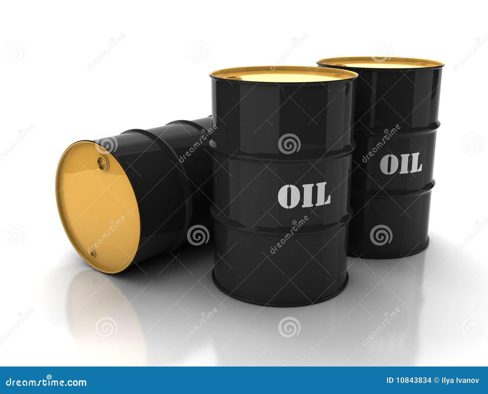Zwarte olievaten met teken