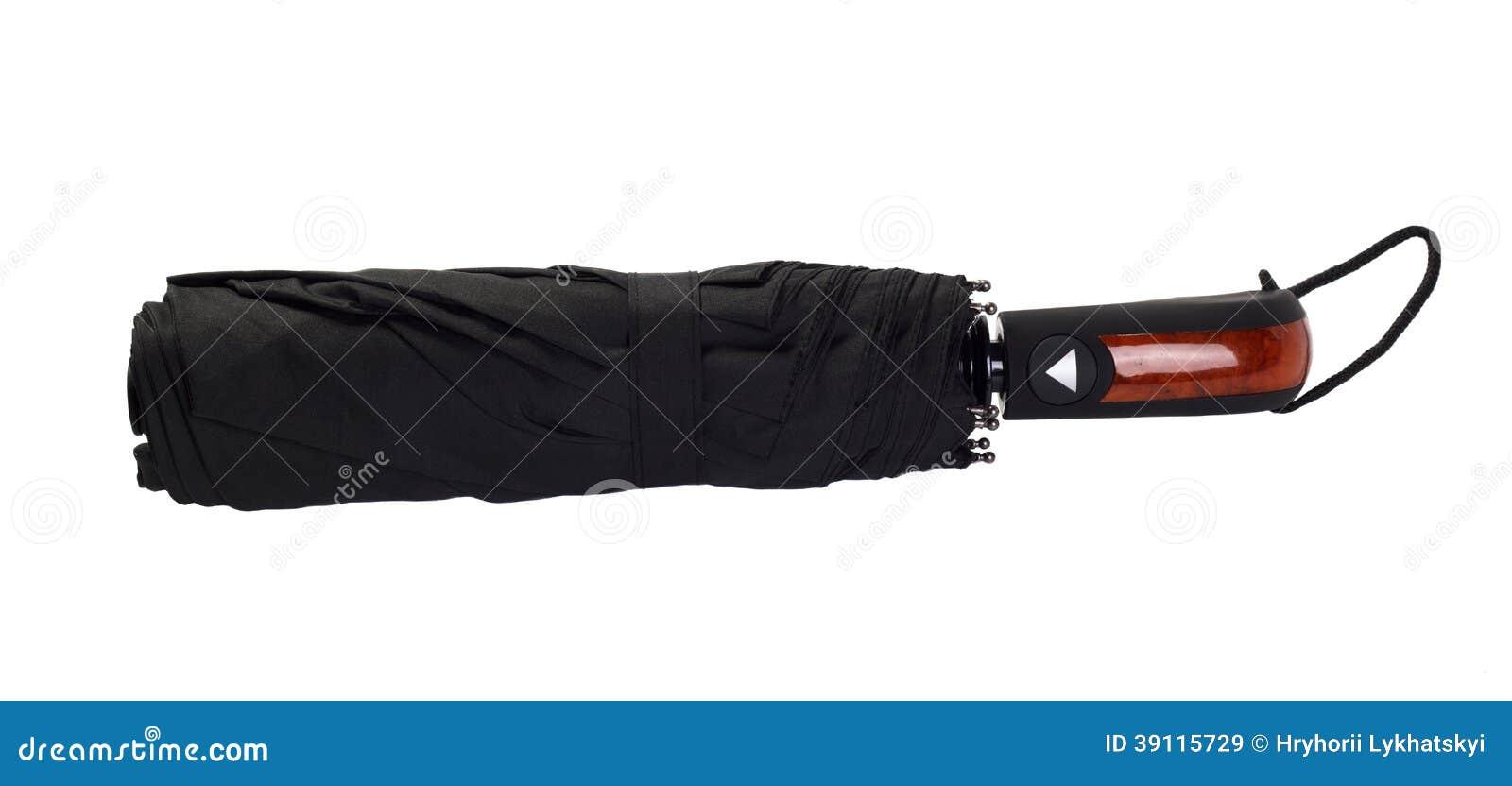 Zwarte paraplu op witte achtergrond