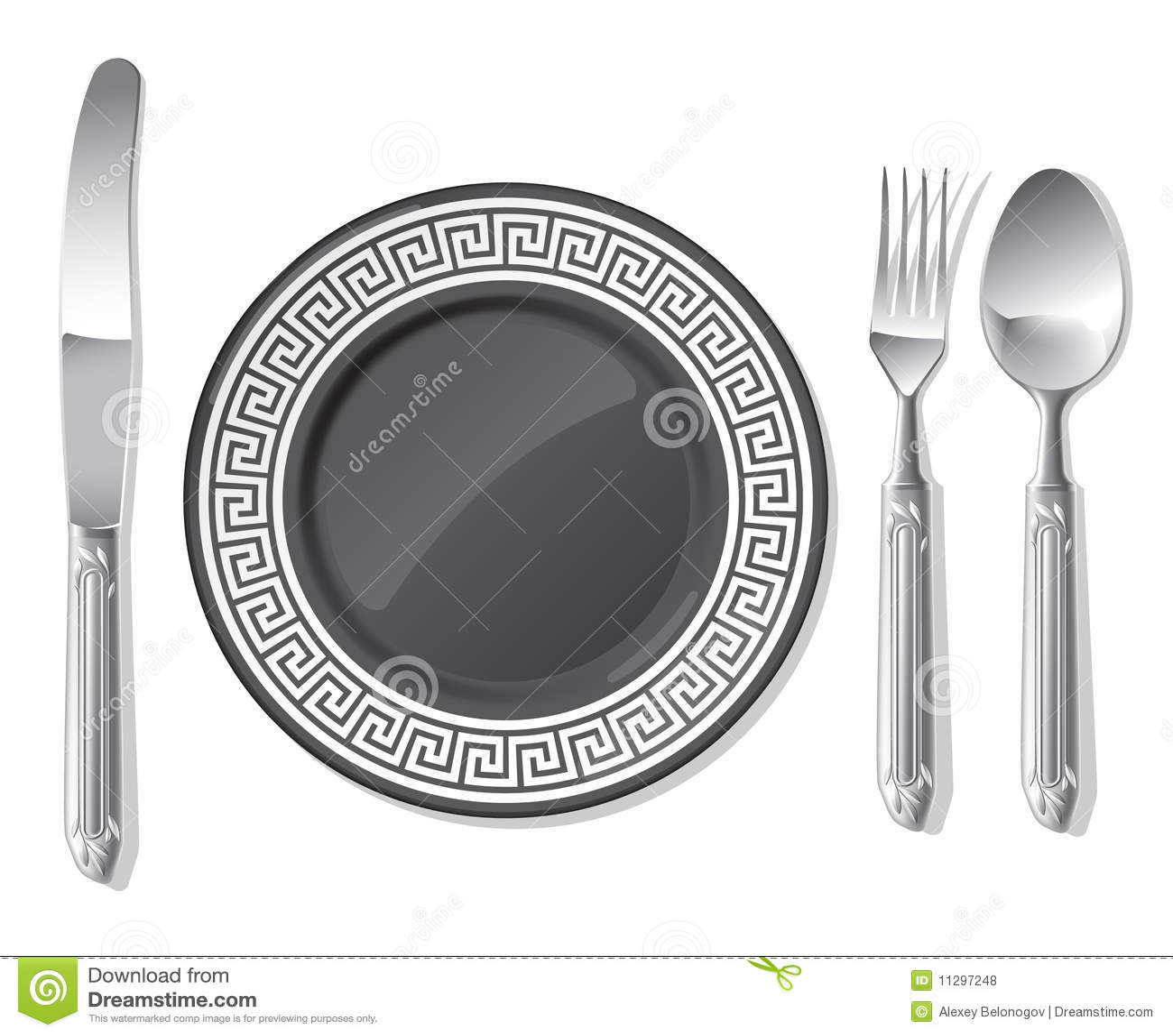 Zwarte plaat, zilveren lepel, vork, mes