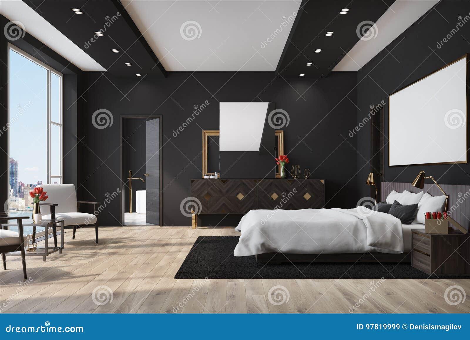 Slaapkamer Zwarte Vloer : Zwarte slaapkamer met een affiche kast stock illustratie