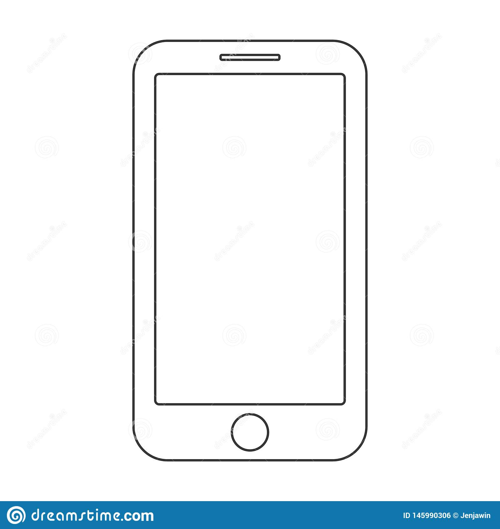 Zwarte uit lijnensmartphone met menuknop en het lege scherm op witte vector als achtergrond Het mobiele teken van het telefoonove