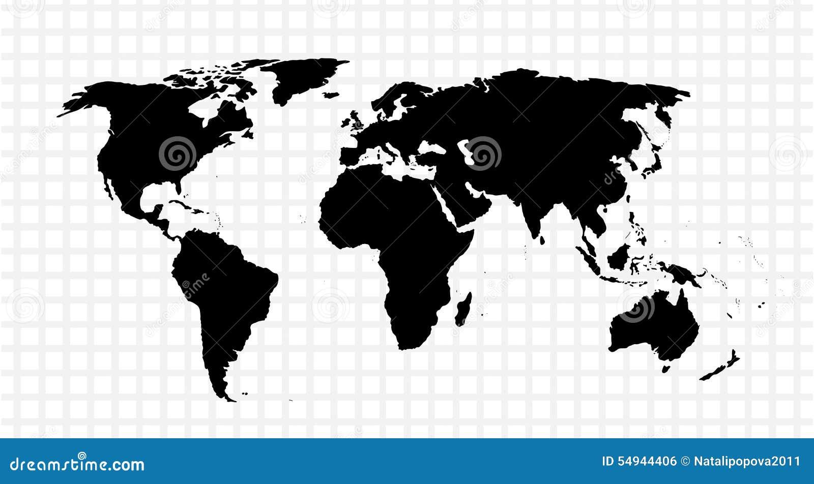 Zwarte vectorkaart van de wereld