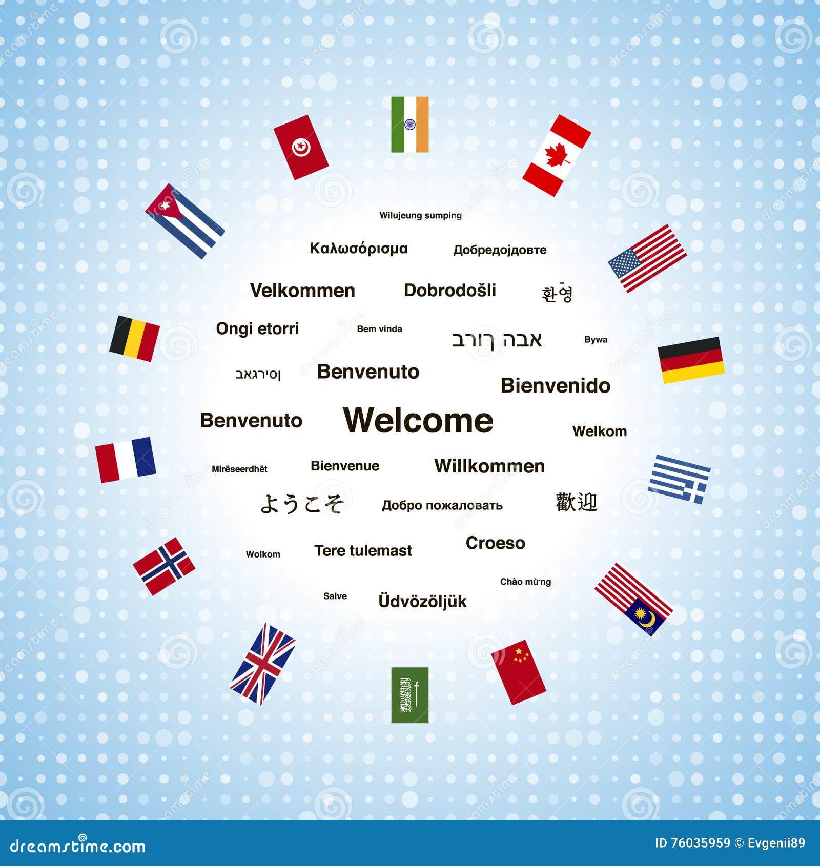 Zwarte welkome uitdrukkingen in verschillende talen van de de wereld en vlaggen van landen - Bank thuismarkten van de wereld ...