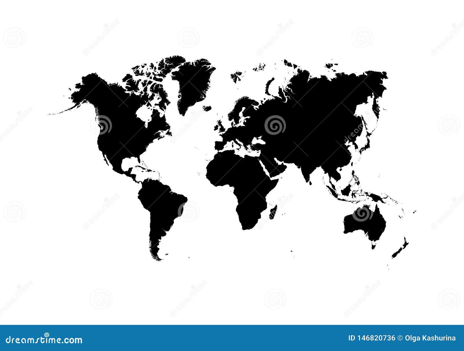 Zwarte Wereldkaart, continenten van de planeet