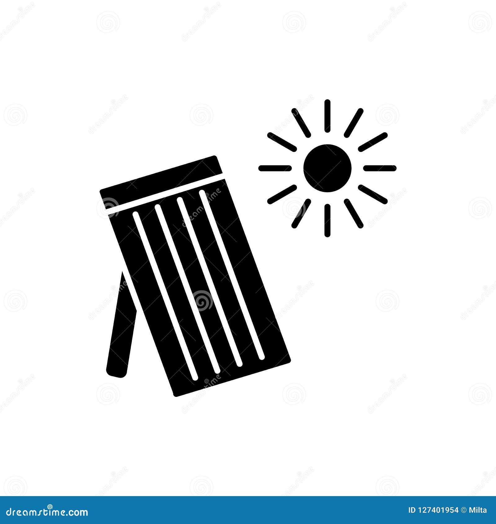 Zwarte & witte vectorillustratie van zonne thermisch paneel Huis