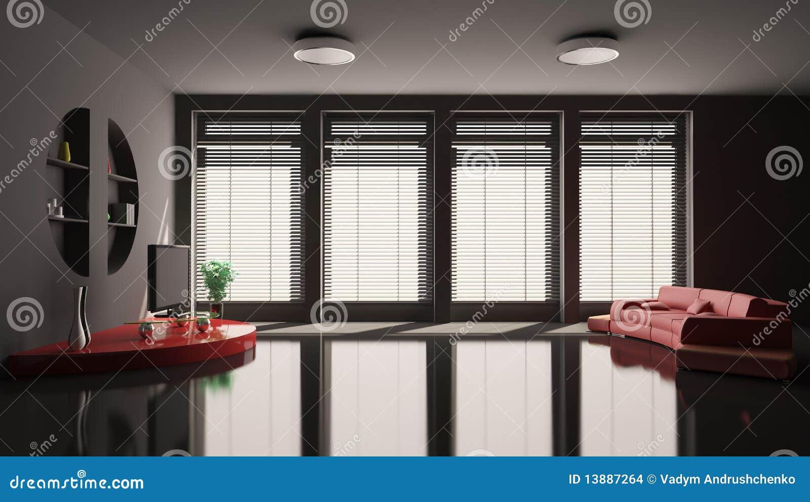 Zwarte Woonkamer Met Rode Bank Binnenlandse 3d Stock Afbeeldingen ...