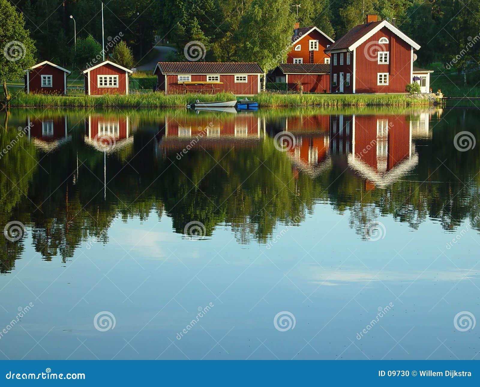 Zweedse oever van het meer
