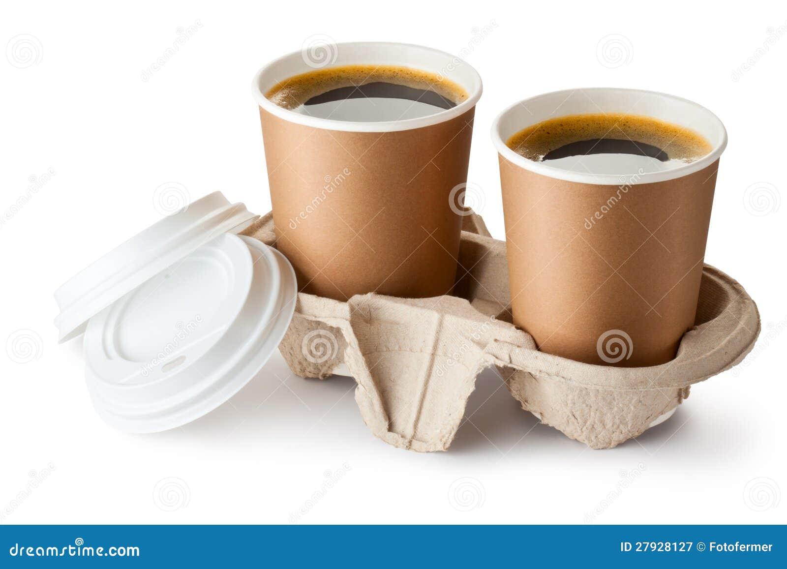 Zwei öffneten take-out Kaffee in der Halterung