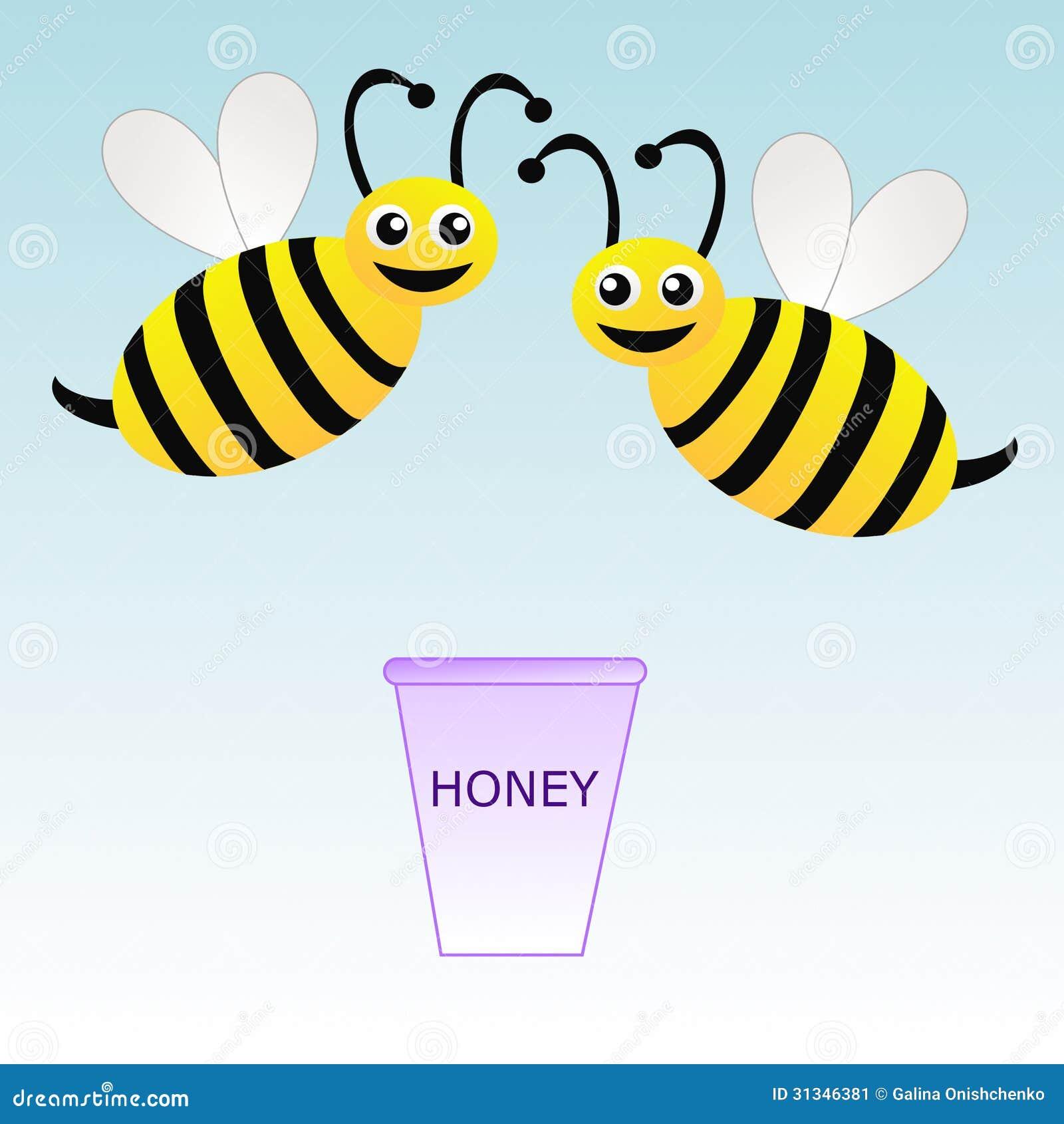 zwei am sante gezeichnete bienen und eimer mit honig auf. Black Bedroom Furniture Sets. Home Design Ideas