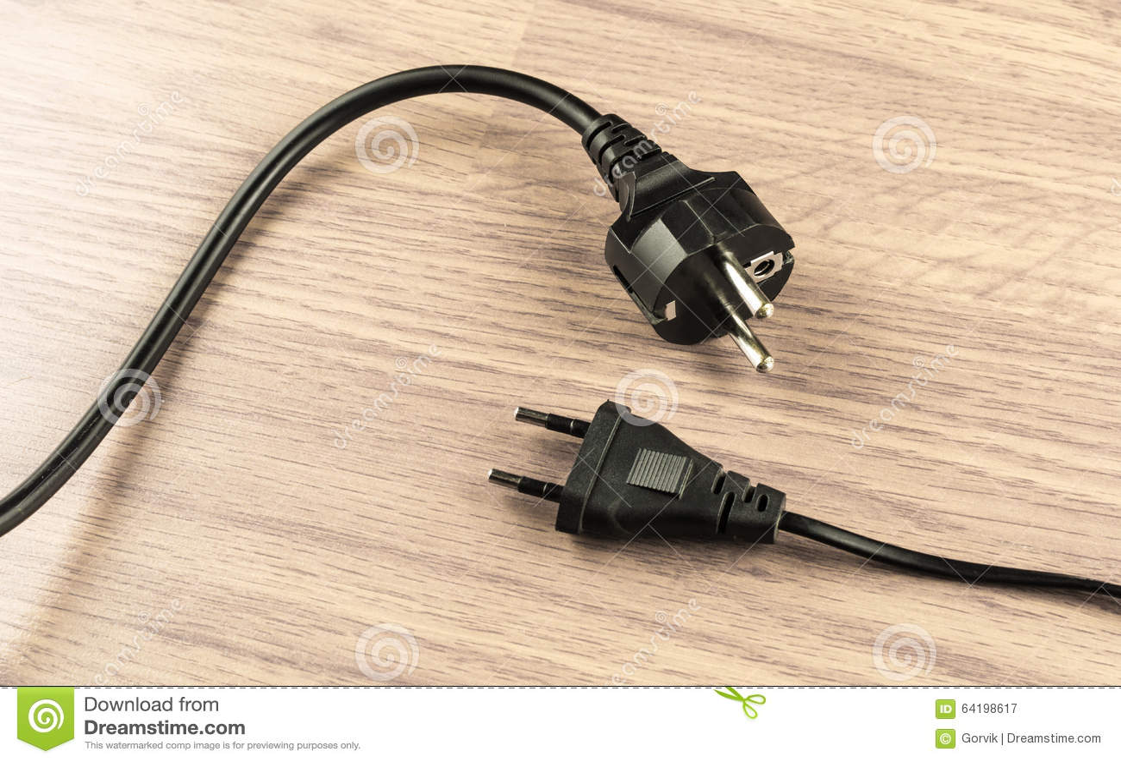 zwei arten elektrischer stecker stockbild bild 64198617. Black Bedroom Furniture Sets. Home Design Ideas