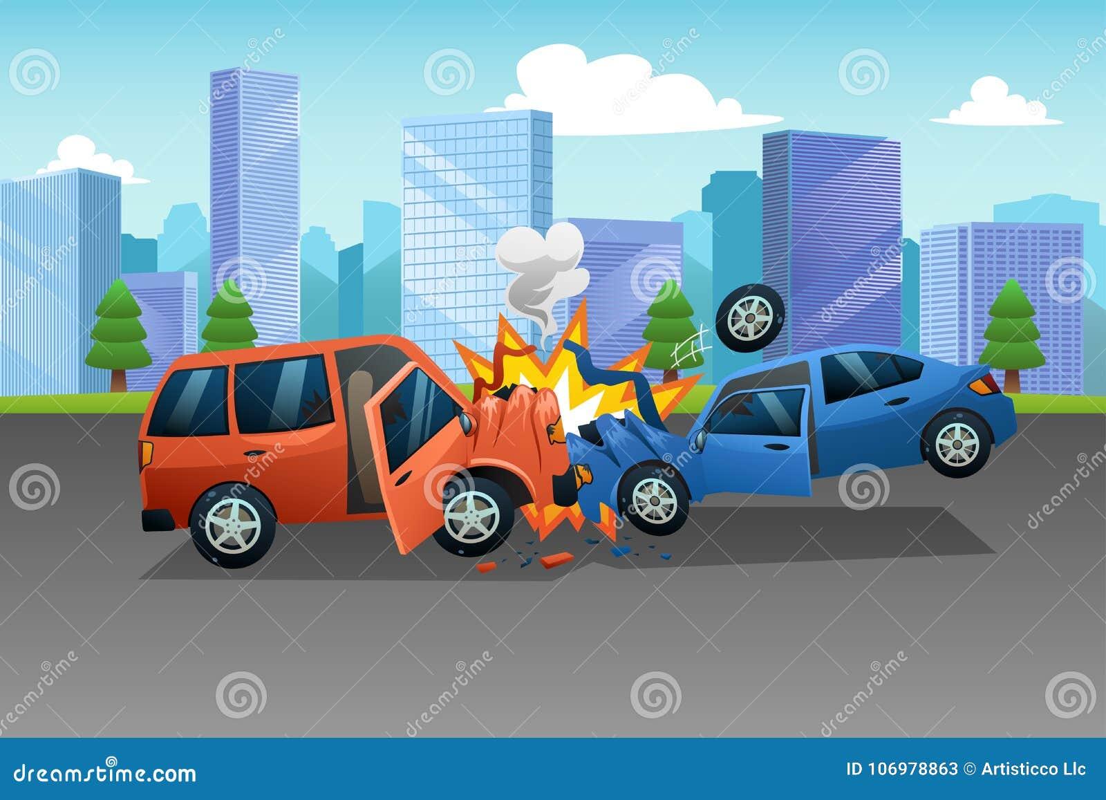 Zwei Autos In Einer Unfall-Illustration Vektor Abbildung ...
