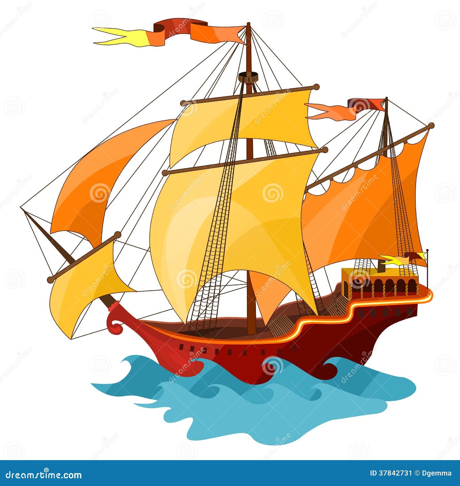 Zwei-bemastetes Segelschiff.