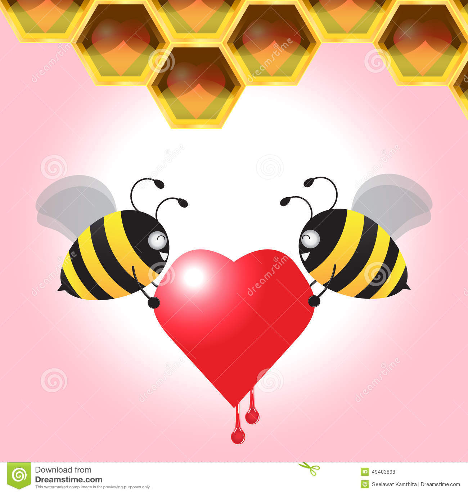 Download Zwei Bienen-tragendes Herz Zurück Zu Der Bienenwabe Auch Im Corel Abgehobenen Betrag Vektor Abbildung - Illustration von clip, schmelze: 49403898
