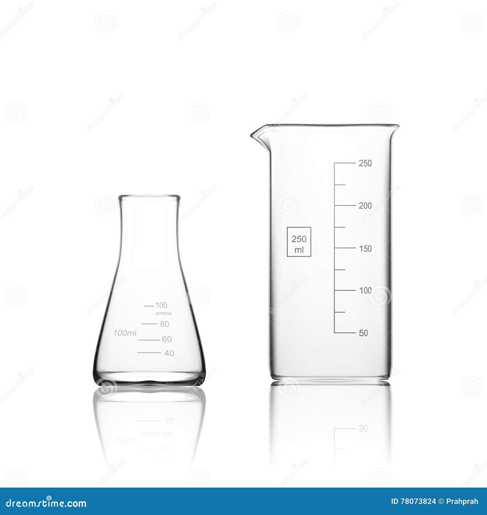 Zwei Chemikalien-Laborglaswaren oder Becher Glasausrüstungs-leeres klares Reagenzglas