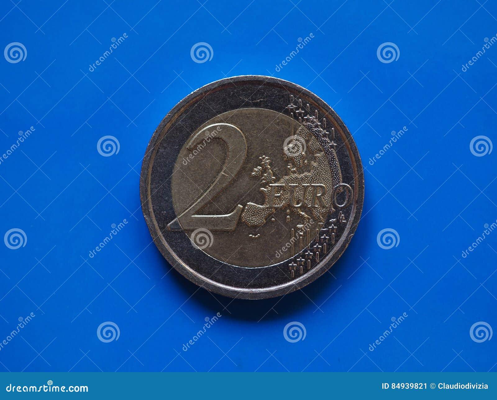 Zwei Euro Münze Europäische Gemeinschaft über Blau Stockbild Bild