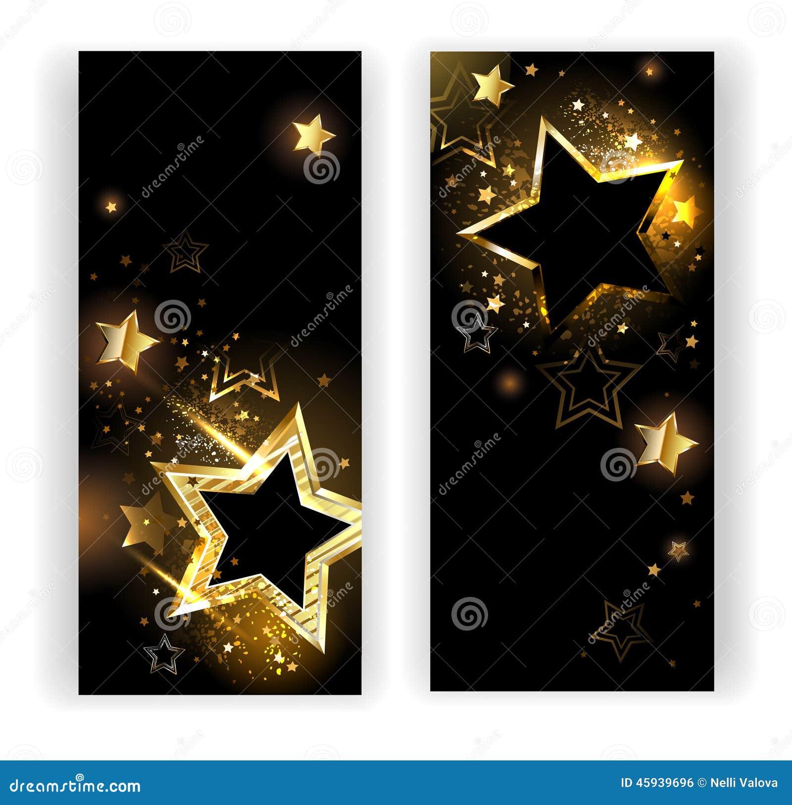 Zwei Fahnen Mit Goldsternen Vektor Abbildung - Illustration von ...