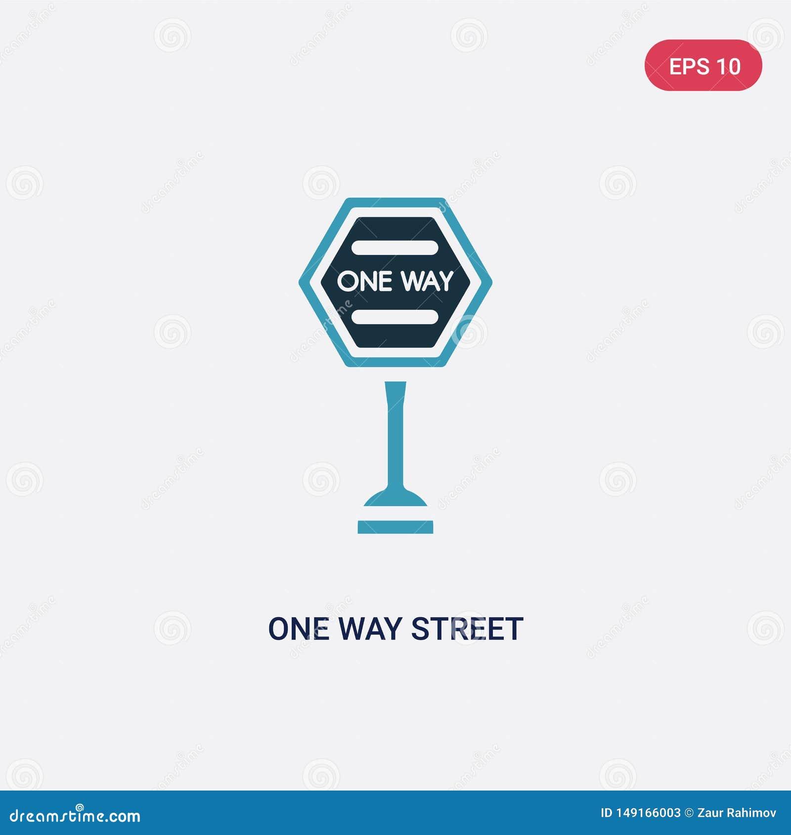 Zwei Farbeinbahnstraße-Vektorikone vom Zeichenkonzept lokalisiertes blaues Einbahnstraßevektor-Zeichensymbol kann Gebrauch für Ne