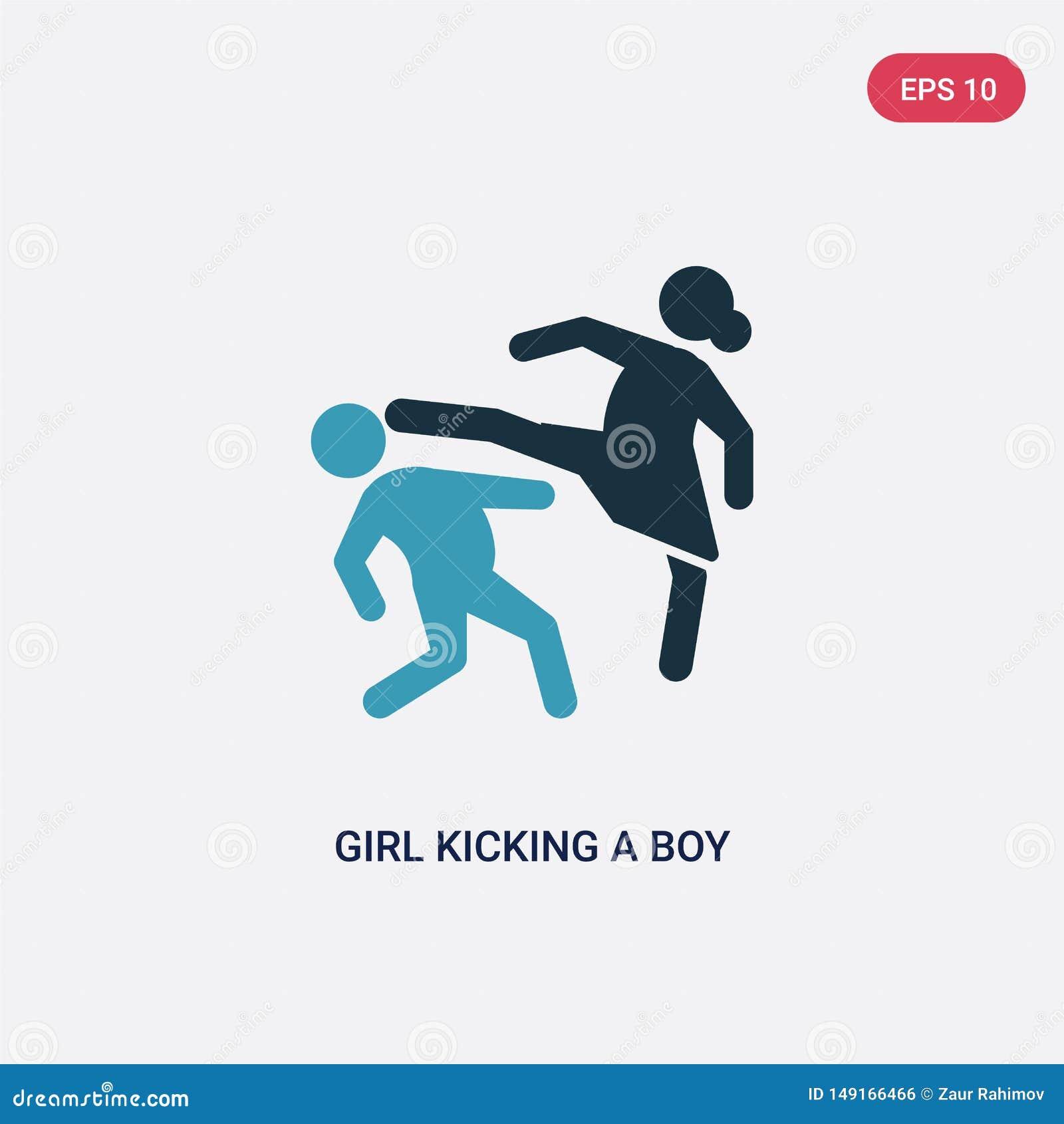 Zwei Farbmädchen, das einen Jungen in der Gesichtsvektorikone vom Sportkonzept tritt lokalisiertes blaues Mädchen, das einen Jung