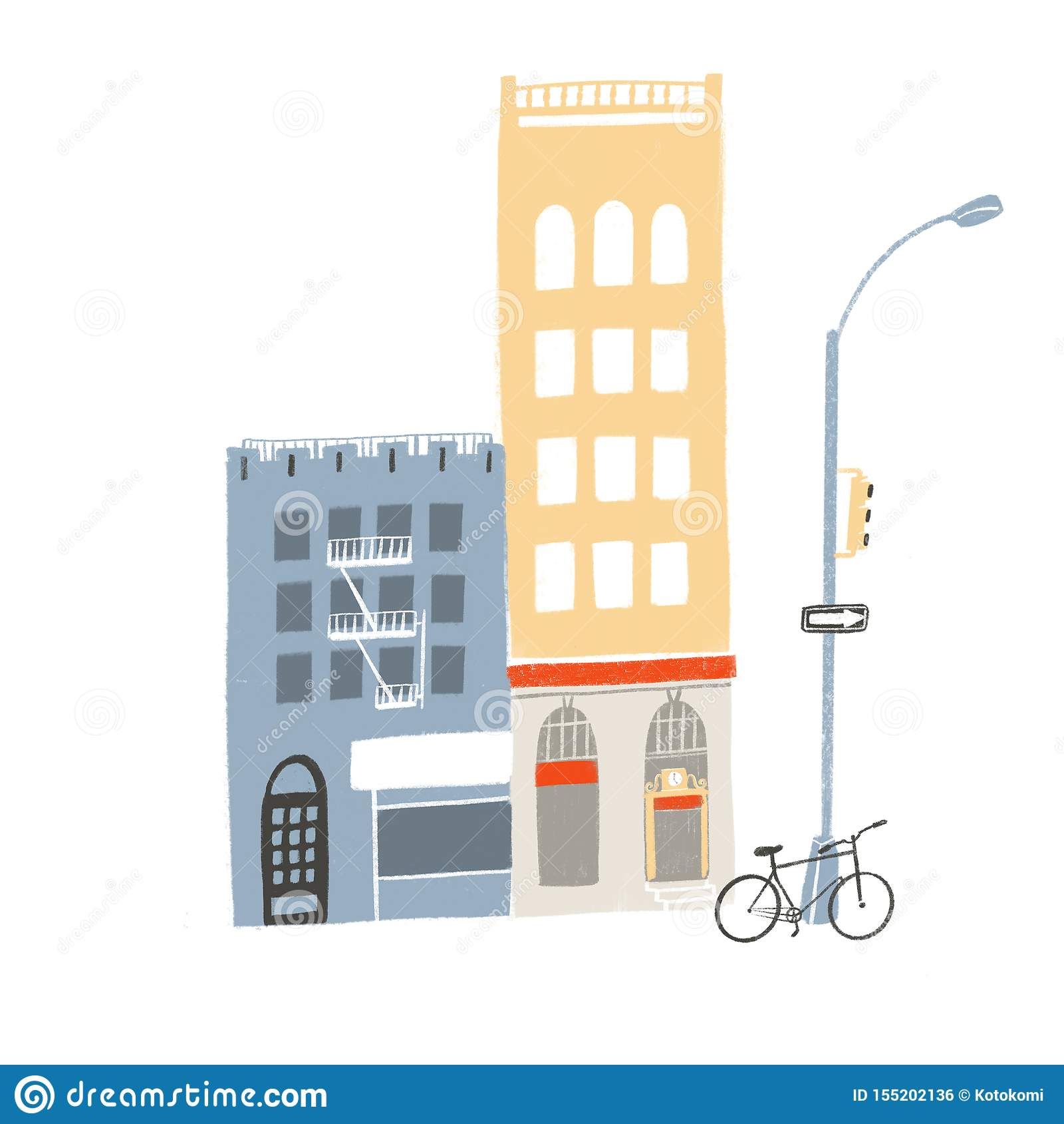 Zwei Gebäude, hoch und mittlere Straßenbild mit Speicherfronten, Café, Fahrrad und Ampeln stehen Illustration