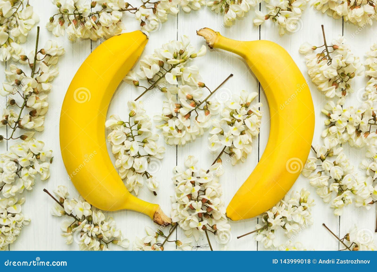 Zwei gelbe Bananen auf einem Hintergrund von weißen Akazienblumen