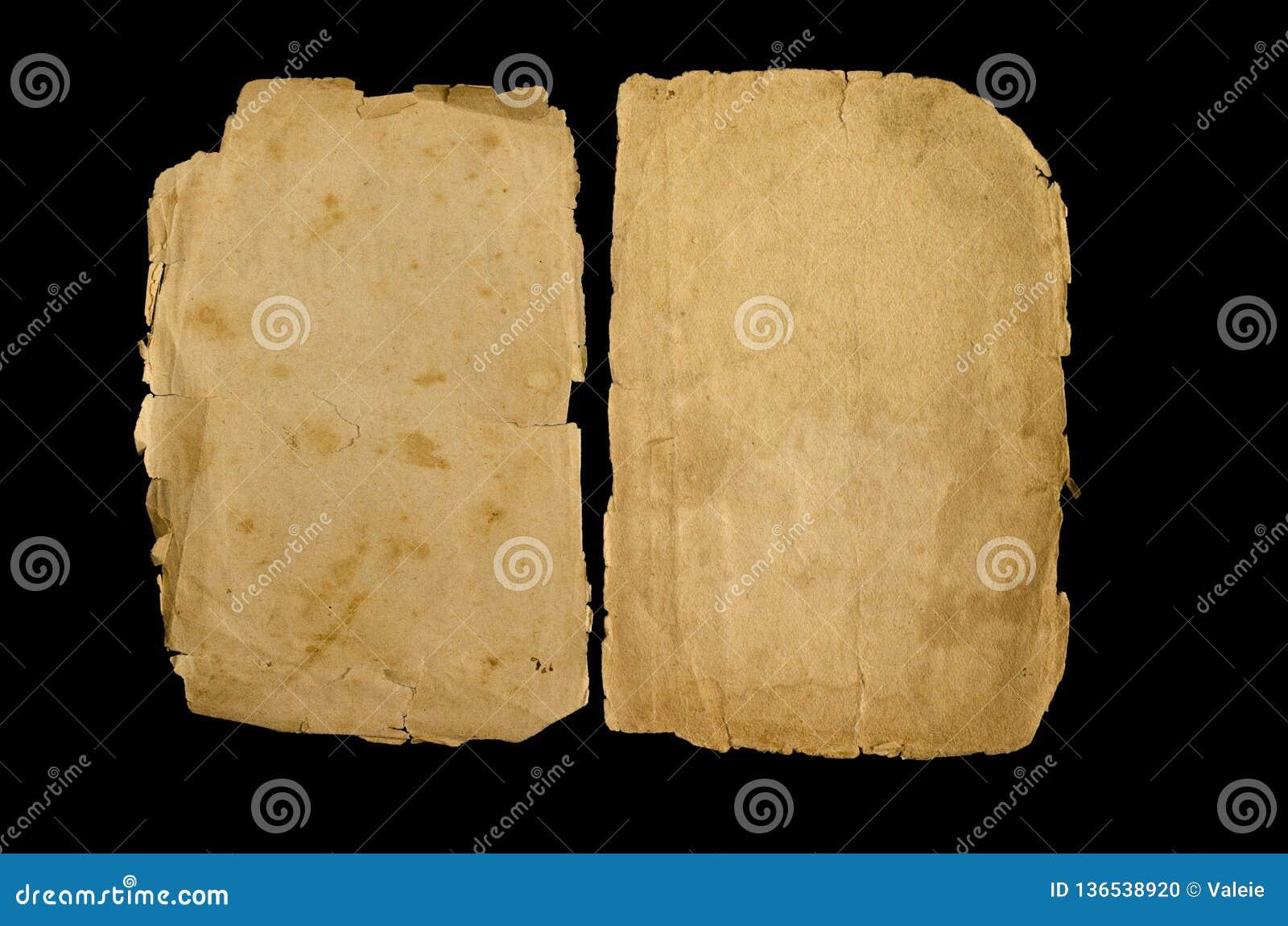 Zwei Gelbe Seiten eines alten Buches auf einem schwarzen Hintergrund
