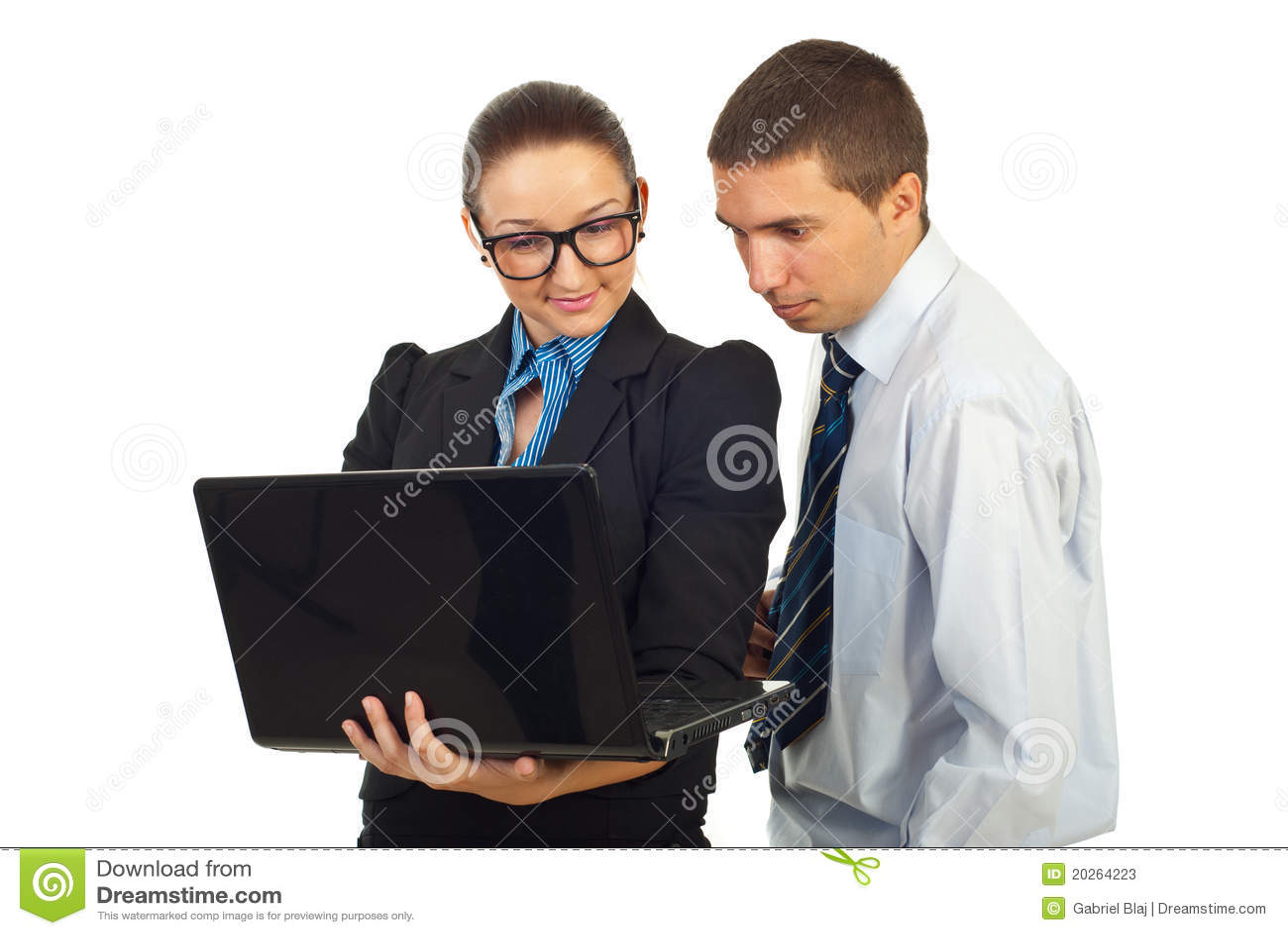 Zwei Geschäftsleute mit Laptop