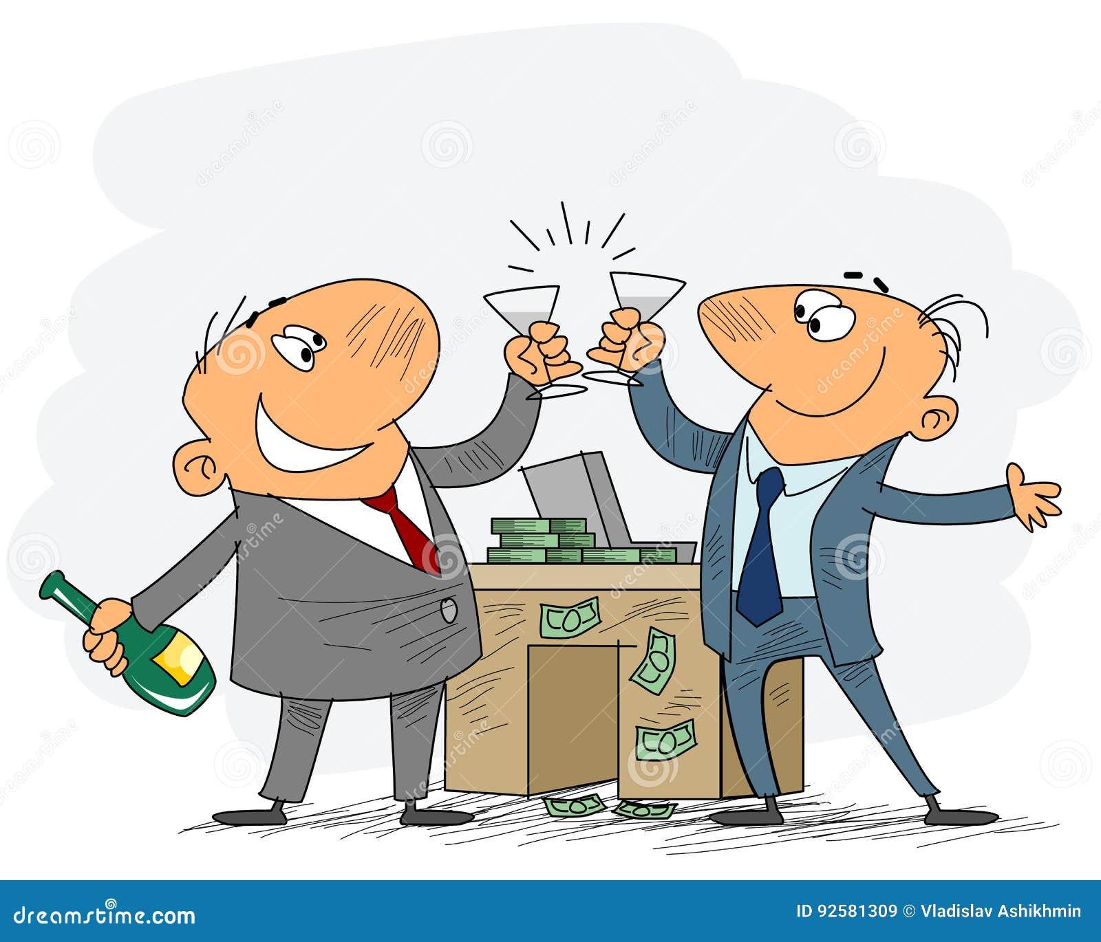 Zwei Geschäftsmänner feiern Abkommen