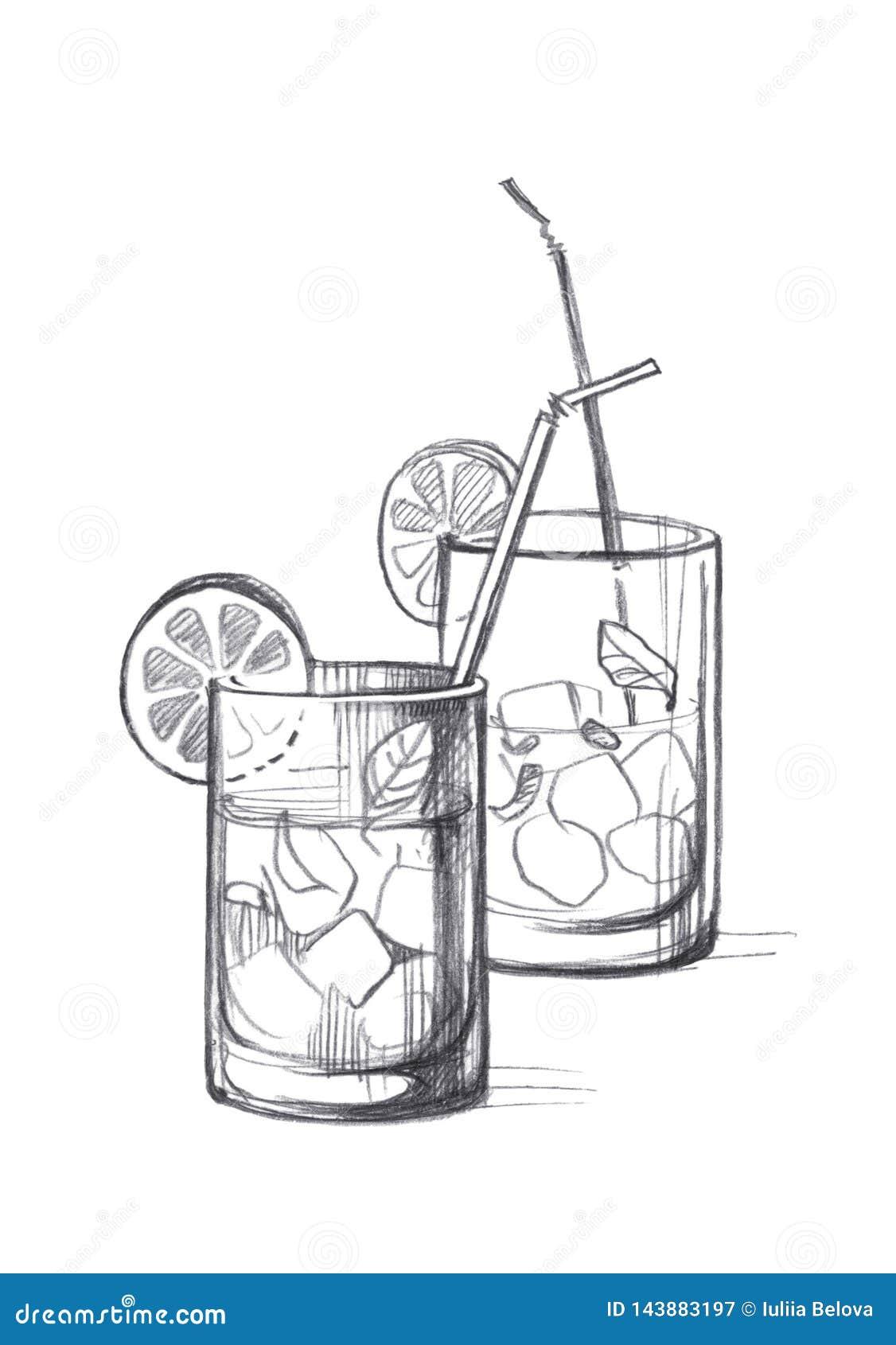 Zwei Glasgl?ser mit Eis, Zitrone, tadellosen Bl?ttern und Cocktailrohren