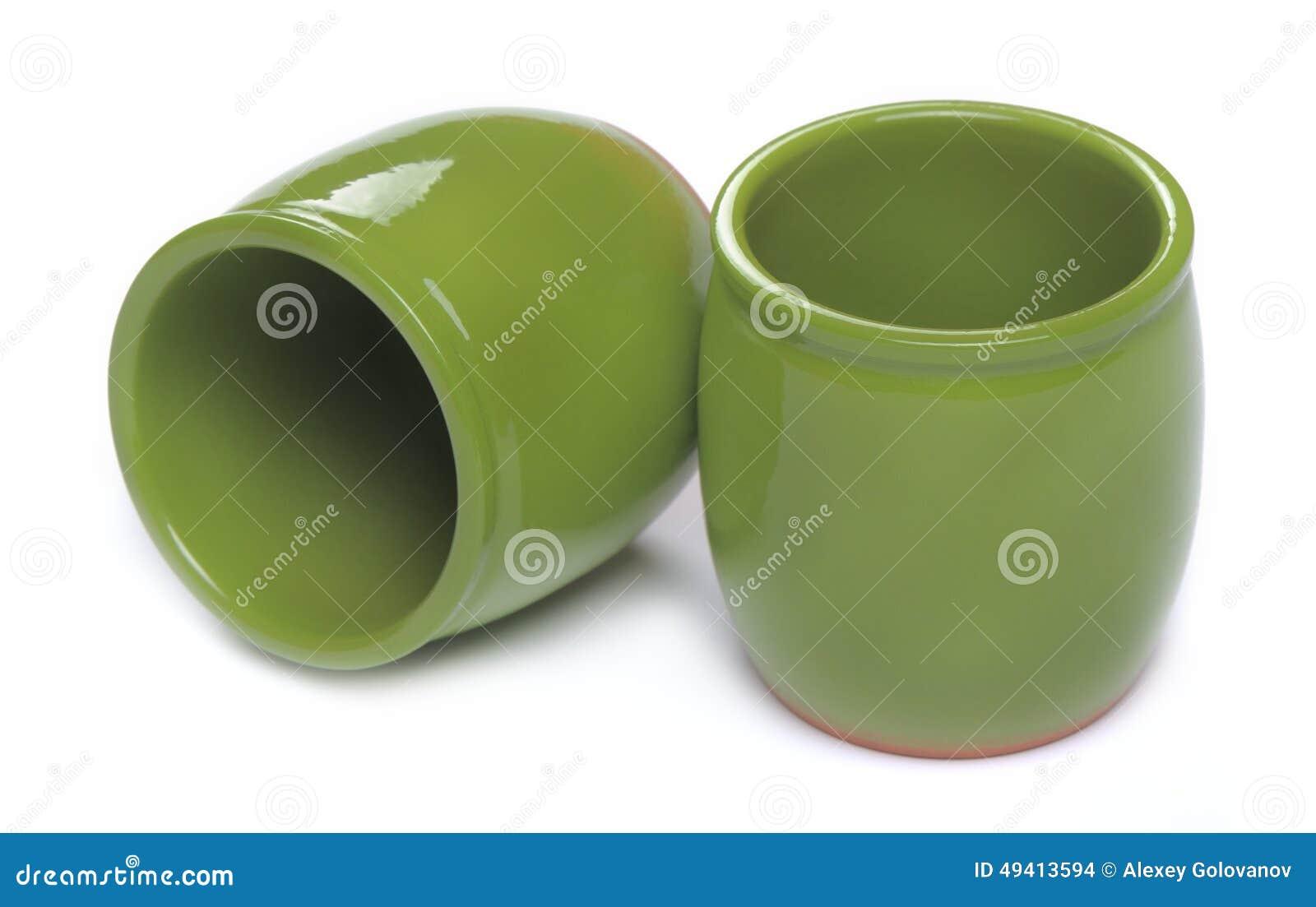 Download Zwei Grüne Keramische Gläser Stockfoto - Bild von zwei, querneigungen: 49413594