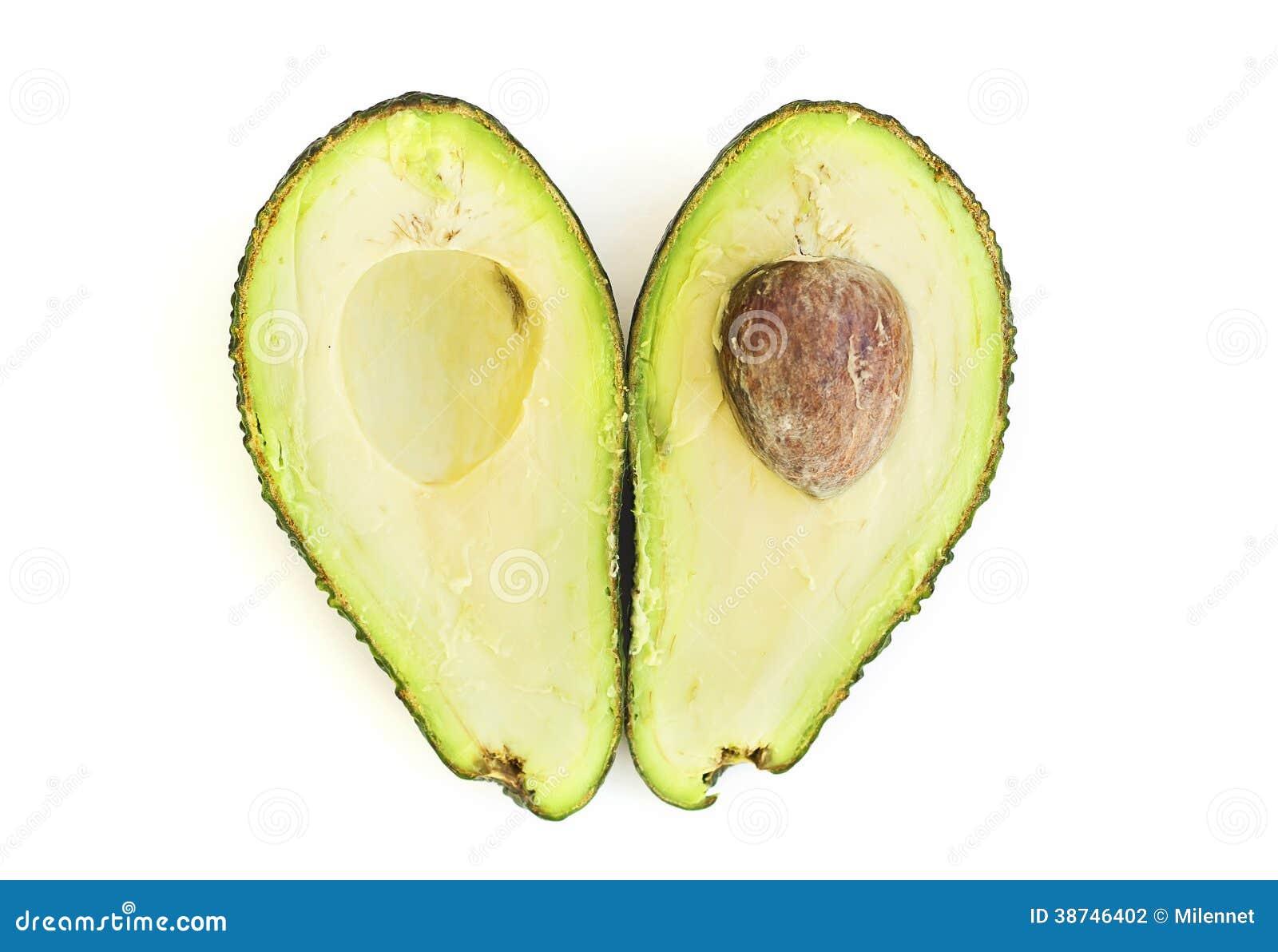 Zwei Hälften der Avocado stockfoto. Bild von getrennt - 38746402