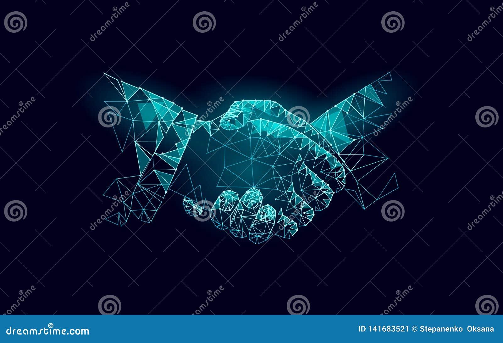 Zwei Handhändedruck-Geschäftsvereinbarung Berufsarbeitspartnerschaft des niedrigen polygonalen Polydreiecks Büro succsesfull