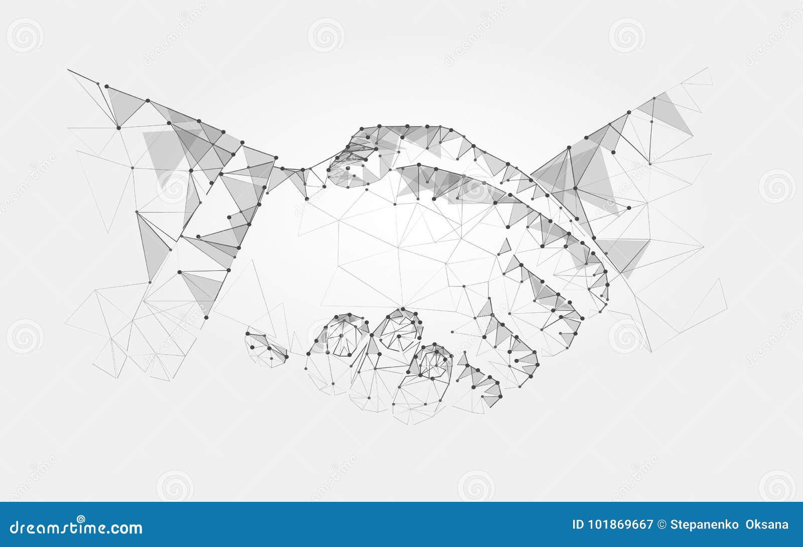 Zwei Handhändedruckpolygonales niedriges Polyvertragsvereinbarungsmonochrom auf einem hellen Hintergrund Vektor
