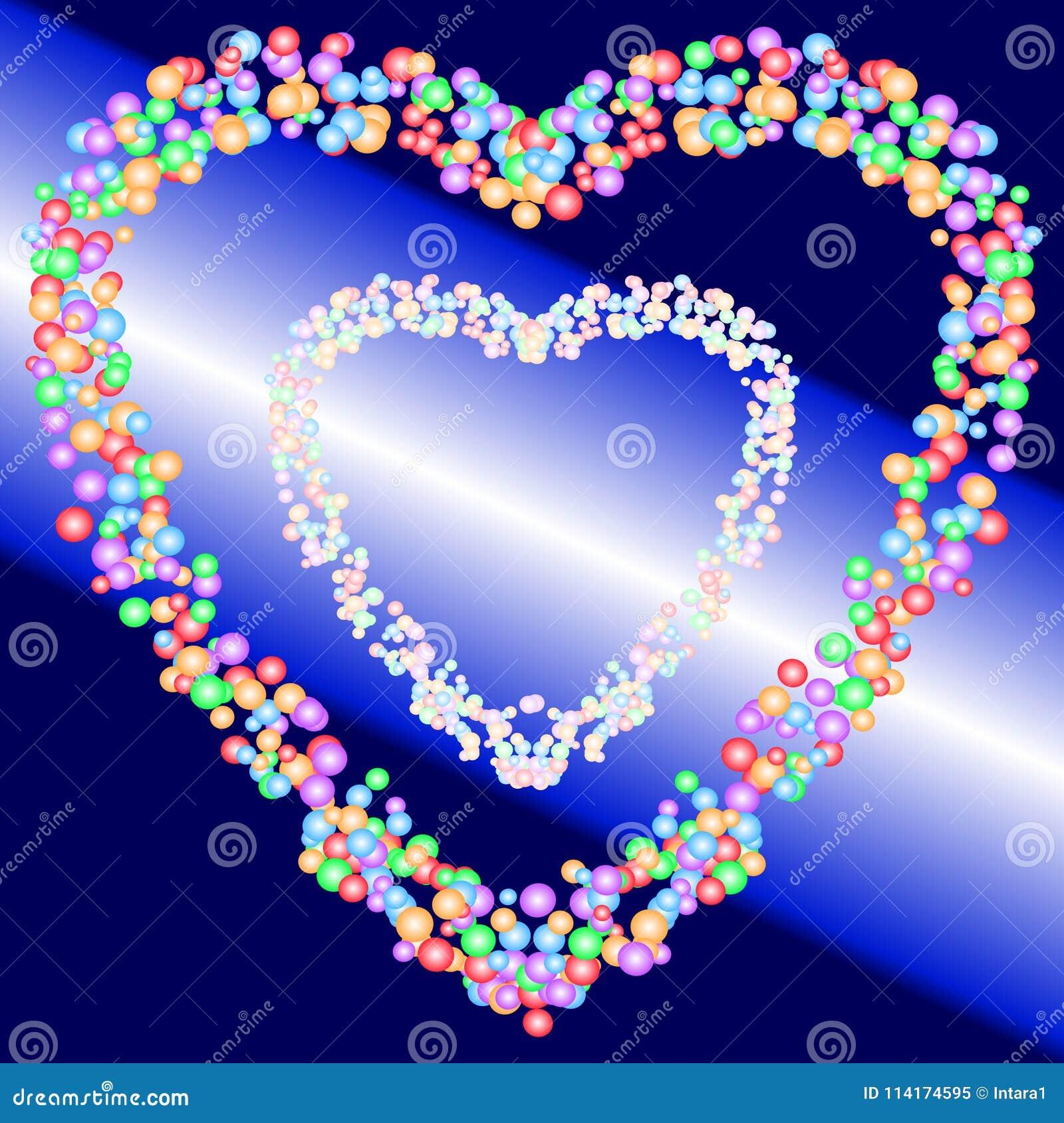 Zwei Herzformmuster von bunten Blasen auf Hintergrund des blauen und Lichtstrahls der Steigung Auch im corel abgehobenen Betrag