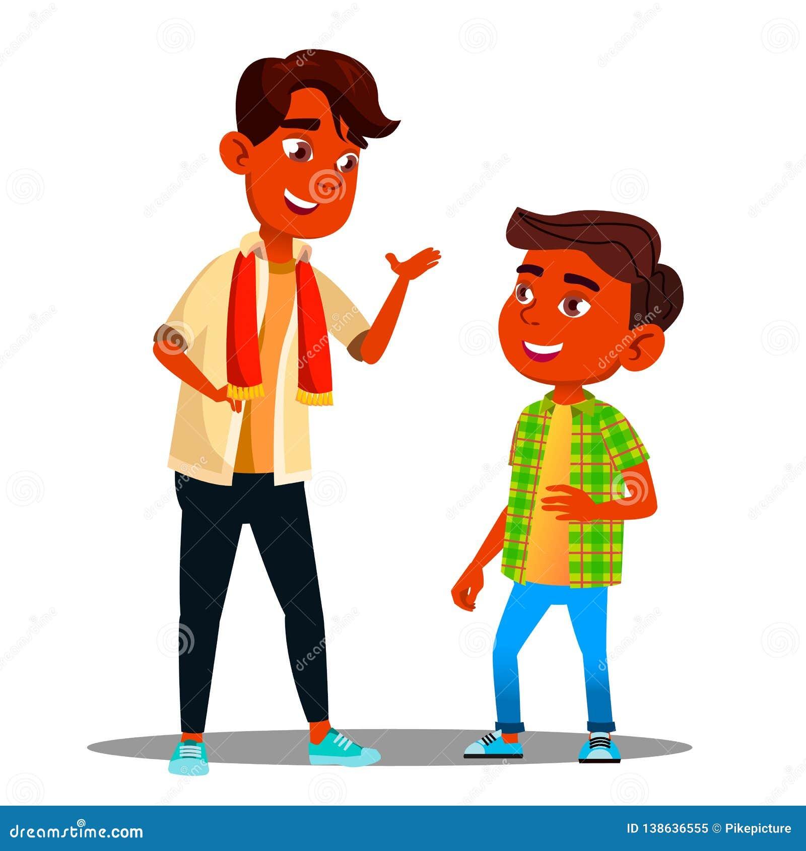 Zwei indische Jungen, die miteinander Vektor sprechen Getrennte Abbildung