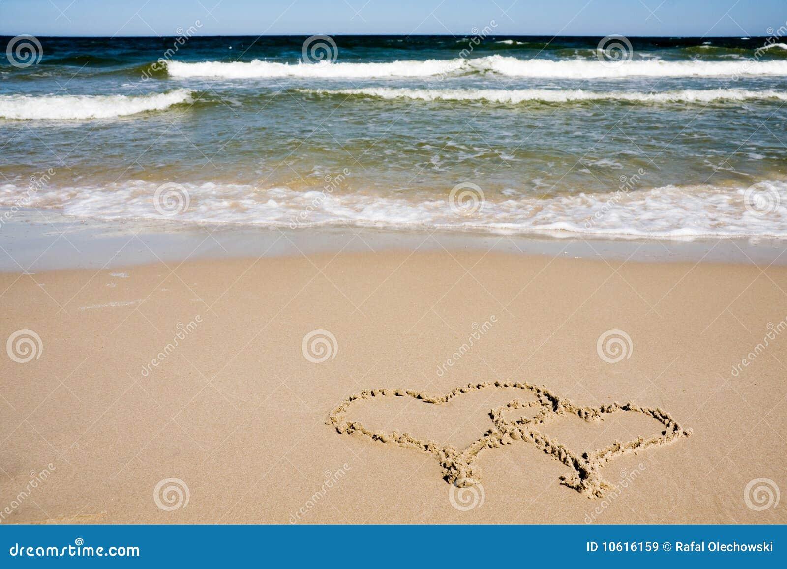 Zwei Innere gezeichnet auf Strand