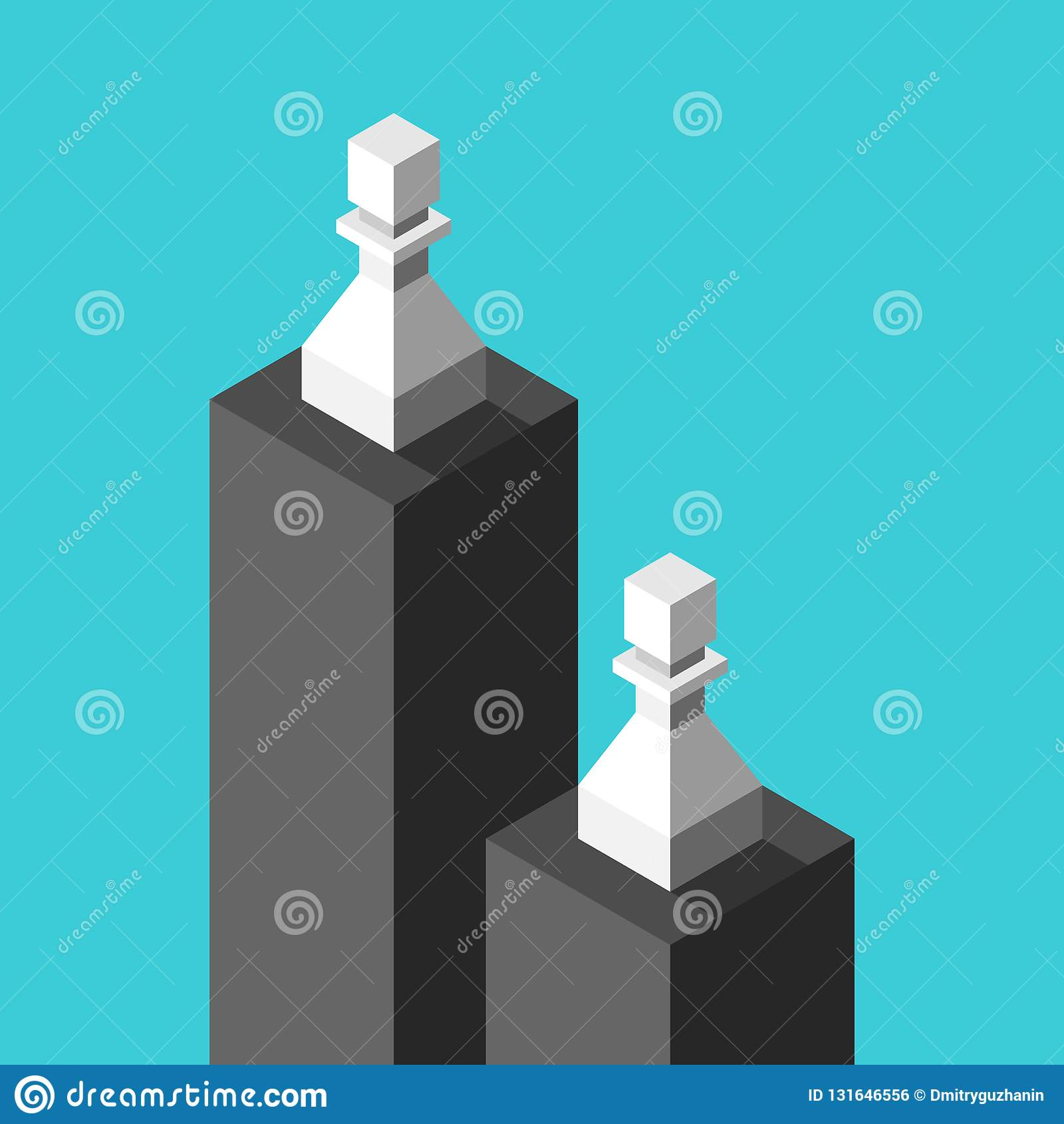 Zwei isometrische weiße Pfand auf schwarzen Sockeln, niedrig und hoch Ungleichheit, Unterschied, Unterscheidung und Einkommenskon