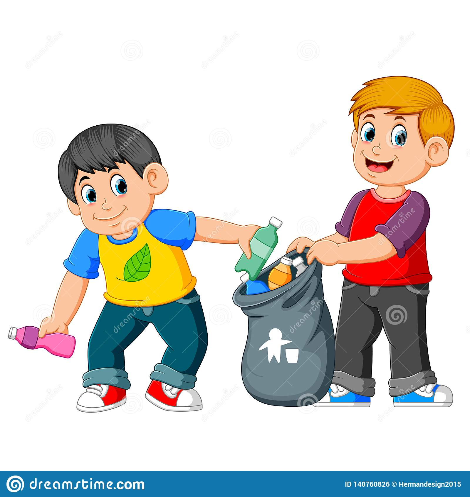 Zwei Jungen, die Abfall sammeln