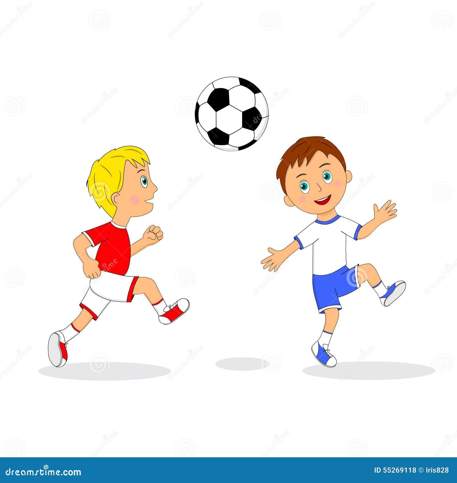 Zwei Jungen Die Fussball Spielen Vektor Abbildung