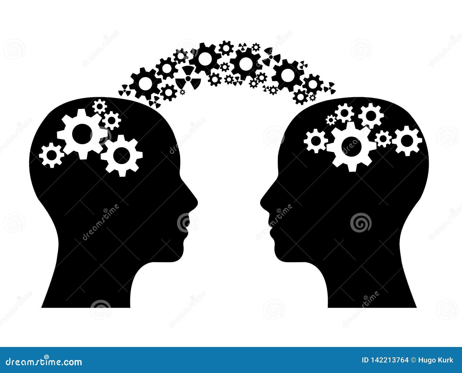 Zwei Köpfe, die Wissen teilen