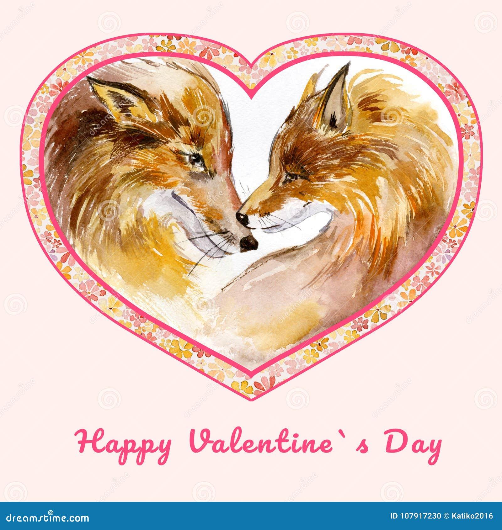Zwei Küssende Füchse Im Herzen Formten Rahmen Mit Kleinen Blumen ...