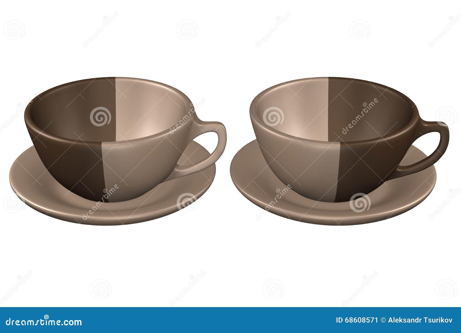 zwei kaffeetassen auf der untertasse auf wei em hintergrund stock abbildung bild 68608571. Black Bedroom Furniture Sets. Home Design Ideas